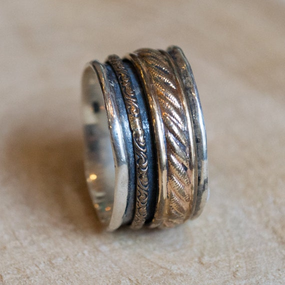 Sterling Silver Ring, Spinner Ring, Meditation Silver Band, Gold spinner Ring, Silver Gold Ring, twotone band, unisex band - Limitless R2091
