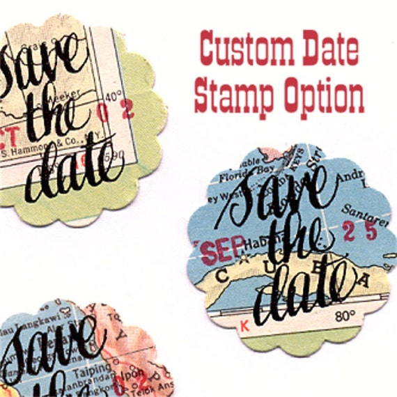 Custom Date Option for your Vintage Atlas Save the Date Stickers Your Wedding Day