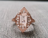 "Morganite Diamond Engagement Ring Geometric Victorian Halo Egyptian Bohemian Peach Pink Antique Emerald Art Deco 14K Rose Gold ""The Judith"""