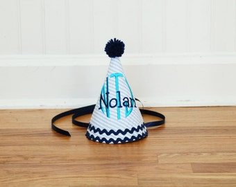 Boy navy and teal birthday hat - Blue, aqua, teal, navy, white - First party hat - Free personalization
