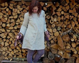 natural linen long-sleeved smock dress (ready to ship)
