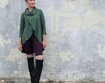 Organic Chunky Cowl Petal Front Tunic (light hemp/organic cotton knit) - organic tunic