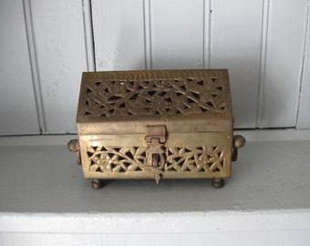 Pierced Brass Cricket Trinket Box with Triangular Lid Made In India