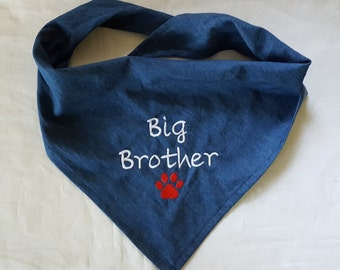 Big Brother Dog Bandana, Tie-on,  Denim, Newborn Photo, New Baby Announcement, Pet Clothing, Pet Accessories, Pet Neckwear, Dog Accessories