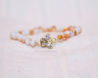 Butterfly charm bracelet, beaded stretch bracelet, butterfly charm jewelry, elegant bracelet, stackable jewelry