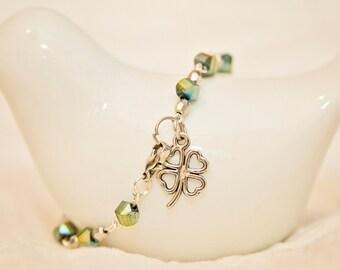 Four leaf clover charm green bead bracelet st patrick's day lucky clover good luck clover charm bracelet
