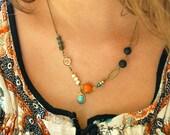 Colorful bohemian charm necklace/boho jewelry. Tiedupmemories