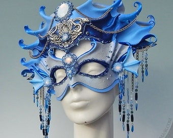 Siren Fantasy Costume - Opulently Beaded Leather Mask and Headdress - Mixed Media Wearable Art Mermaid Crown for Theater, Ren Faire, Gala
