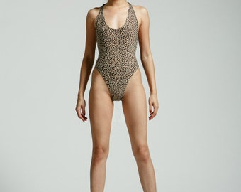 Lolita Cheetah 80's One Piece Glam High Cut, Low Back Bathing Suit - Free Shipping