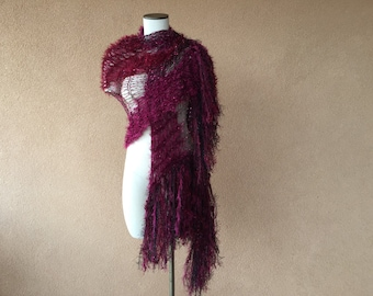 Cranberry Knit Shawl Burgundy Shawl Burgundy Wine Colored Dark Red and Maroon Shawl Wrap Fringe Wrap Blood Red Stevie Nicks Shawl