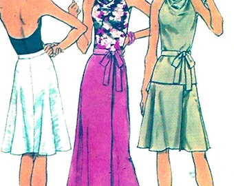 70s Wrap Halter top wrap skirt Vintage sewing pattern Simplicity 5458 Bust 36 evening wear party fashion