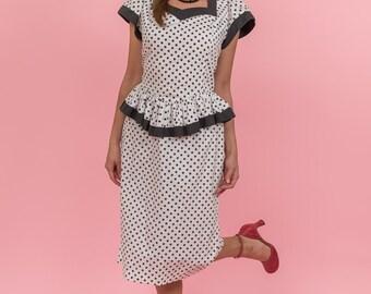 Vintage Black And White Polka Dot Peplum Dress (Size Large)