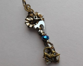 Cat Key Pendant -- Wire Wrapped Key with Silver and Brass Cat Charms, Blue Faceted Rondelle, Antique Key, Cat
