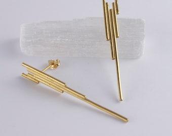 Gold Art Deco Earrings. Geometric Earrings. Bridal Earrings. Linear Earrings. Art Deco Jewellery. Minimalist Jewelry. Modernist Jewelry.