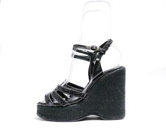 Size 7.5 // Vintage 70s Black Wedge Sandals// Platform Sandals // 110