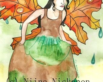 Autumn Fairy ACEO Art Print  After the rain Artist trading card Fairy Fantasy Art Watercolor Painting Fairy Illustration -by Niina Niskanen