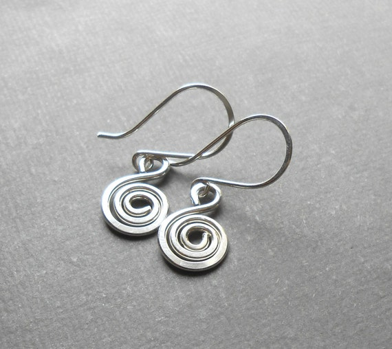Sterling Silver Spiral Charm Dangle Earrings