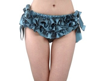 Silk ruffled panties - the original silk ruffled knickers! 100% silk with side ties, turquoise, aqua, blue- frilly and ruffly panty bloomers