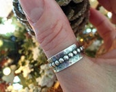 Bubble Hammered Sterling Silver Wide Band Ring, made to order, boho, gypsy, bohieman, bohostyle, metalwork, handmade