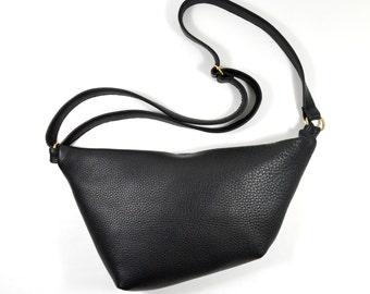 Venera - Black Leather Shoulder Bag Handmade SC16