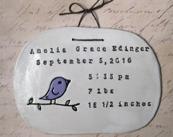 Birth Announcement: Bird Wall Art, Personalized Baby Gift, Baptism Gift, Nursery Decor, Custom Baby Sign