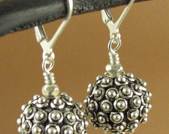Spikey ball large fancy earrings. Lever back hooks. Sterling silver 925.