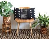 Black Mudcloth Lumbar Pillow, African Mud Cloth, Black and White Pillow, Modern Pillow, Linen Lumbar, 15x25, Bohemian Decor, Geometric