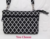Crossbody Wallet Purse, Cell Phone Cross Body Wallet, iPhone 6 Clutch Wallet, Fits All Cell Phones / Black Lattice with Choice Colors