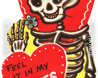 Vintage Digital Greeting Card: Skeleton Bones Halloween Valentine - Digital Download, Printable, Scrapbooking, Image, Clip Art