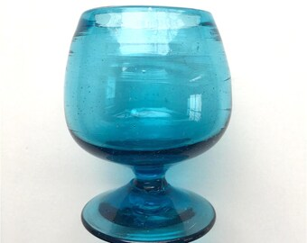 Miniature Mouth Blown Turquoise Glass Brandy Snifter