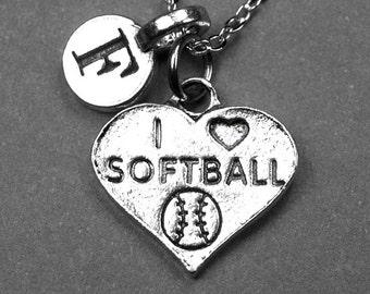 Softball Necklace, I love softball necklace, I heart softball necklace, initial necklace, initial charm, personalized necklace, monogram
