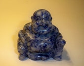 caarved Stone Buddha Figurine Carved and Polished Sodalite Buddha Collectible, Home Decor, Paperweight