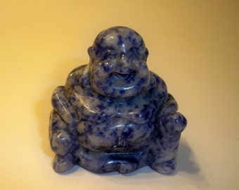 Carved Stone Buddha Figurine, Carved and Polished Sodalite Gemstone Buddha, Spiritual, Metaphysical,  Collectible, Home Decor, Paperweight