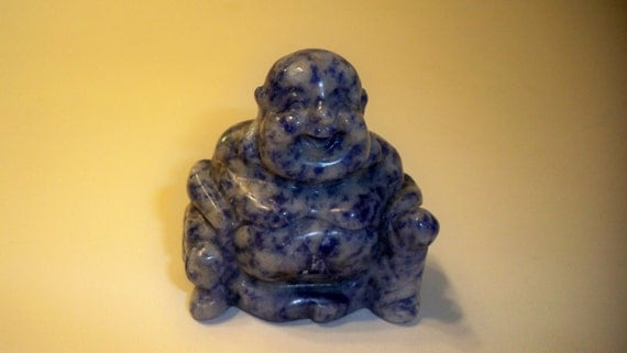 Carved Stone Buddha Figurine Carved and Polished Sodalite Buddha Spiritual Metaphysical  Collectible, Home Decor, Paperweight