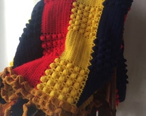 Crocheted Blanket King Size Cabin Afghan Primary Colors Red Blue & Yellow Striped with Popcorn Stitch Pattern and Two Matching Throw Pillows