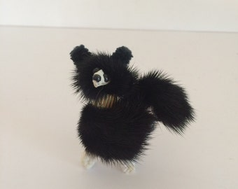 Rockabilly Kitsch Mink Poodle Pin Black Fur 1950's 1960's Accessory
