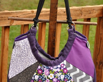Large patchwork tote bag, beautiful purple and gray shoulder bag, unique textured handbag, one of a kind purse, boho bag with many pockets