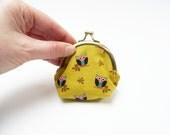 Coin purse, owl fabric, cotton purse