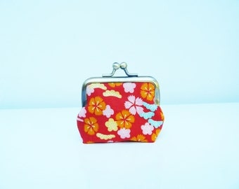 Coin purse, red stylised blossom fabric, cotton pouch, headphone case