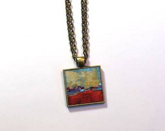 Red Art Pendant , Original Painting, Wearable Art , Blue and Yellow Abstract Necklace, Handpainted Pendant, Hand painted, Painting, Art
