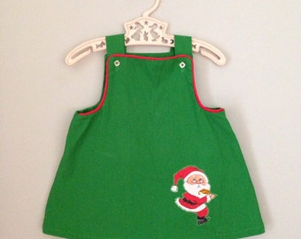 Vintage Handmade Santa Claus Green Jumper Dress 18-2t
