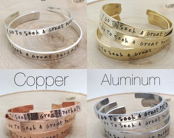 Custom cuff bracelet hand stamped personalized with your saying, quote, lyric, poem, names in sterling, aluminum, brass or copper