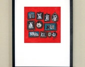 """Family Pictures - illustrated family pets - signed print 10x10"""" in 16x20"""" matte"""