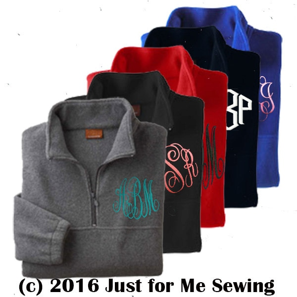 Monogrammed Half-zip pullover jacket-monogram included