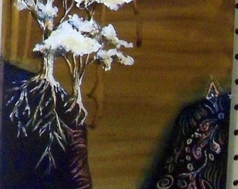 original art acrylic painting trees canyon entangle