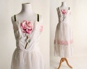 RESERVED - Vintage 1950s Party Dress - Pink Rose Velvet Sheer Chiffon Formal Dress - Small