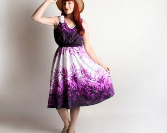 Vintage Hawaiian Dress - Amethyst Purple Ombre Floral Beach Resort Summer Sundress - Large