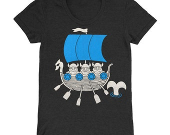 Womens Vikings - Fitted Girls T-Shirt Vintage Nautical Chart Boat Sailing Whale Oar Dragon Ship Nordic Scandanavian Gnomes Tee Shirt Tshirt