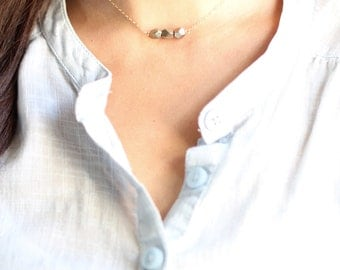 Faceted Pyrite Stone Choker Necklace - Gold Fill or Sterling Silver