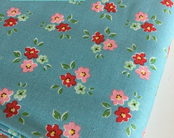 SALE Backyard Roses, Backyard Roses Bouquet in Blue fabric, Discount fabric, Riley Blake Fabrics, Fabric by the yard, Choose your cut